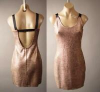 Metallic Gold Flake Open Back Backless Cocktail Evening Party 258 mv Dress S M L
