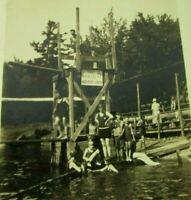 Children Kids Playing At Lake Diving Platform 1920's Antique Sepia Photo mb348