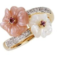 Genuine Pink Tourmaline Mother of Pearl & Diamonds Flower Ring 14K. Yellow Gold