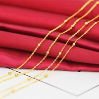 New Arrival Pure Au750 18K Yellow Gold Chain Women O or Rolo Bead Link Necklace