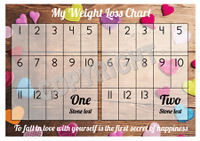 Weight Loss Chart - 2 stone - 1 Sheet of stickers - Coloured Hearts - Slimming
