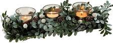 34cm Christmas Mistletoe Table Centre Piece - 3 Candle Holder Decoration