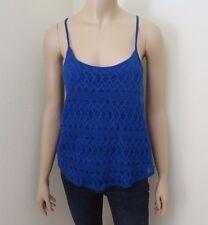 Hollister Womens Lace Crochet Tank Top Size XS Cami Royal Blue Shirt