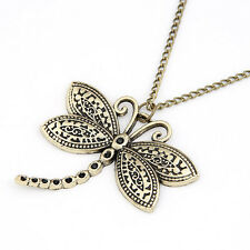 RF Antique Bronze DragonFly  Pendant Necklace Retro Vintage Chain