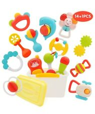 Peainbox 14pcs Baby Rattle Teether Toys,New Baby Gifts for Spin,Grab and Shake,L