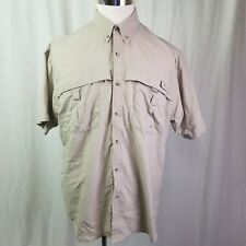 Mens Columbia PFG Button Down Shirt M Khaki Beige Fishing Short Sleeve