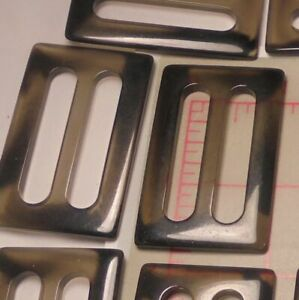 "5 Vintage Buckles Black/Smoke Combo Faux Tortoise Shell Effect 1-3/8"" Strap Belt"