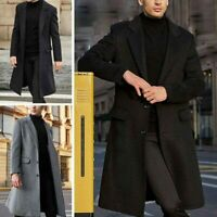 Men's Overcoat Slim Fit Elegant Warm Long Jacket Formal Trench Winter Coats Chic