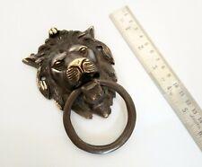 Large heavy lions head urn door knocker handle ring brass black antique finish