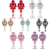 Elegant Vintage Women Rhinestone Crystal Glyph Flower Ear Stud Earrings Jewelry