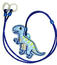 Child's 2 sided Hearing Aids safety Leash loss RETAINER CORD CLIP ..BLUE DINO