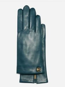 Coach Horse And Carriage Plaque Leather Tech Gloves Teal Size 6.5 MSRP: $148.00