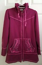 Athleta Women's Long Hooded Jacket Pink Zip Front Embroidered Small ~