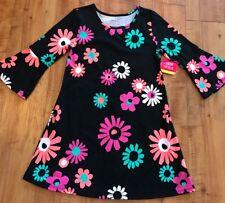 Okie Dokie Girls Dress Size XL 6X Black Floral (I12)