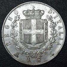 1872 MB ITALY - LIRE 5 - .900 SILVER - Vittorio Emanuele II - Nice Details