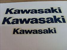 KAWASAKI TECNOSEL FUEL TANK & TAILPIECE LOGO STICKER DECAL pack of three blue