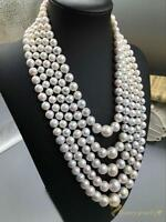 Multi Strand White Natural Pearl Necklace Chunky Choker Statement Bib Elegant