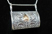 VINTAGE STERLING SILVER & GOLD INSET PILL - SNUFF BOX PENDANT NECKLACE     SN35