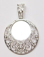 4 of 25 mm Round Silver Decorative Victorian Pendant Settings 4 Cameos, or Cabs