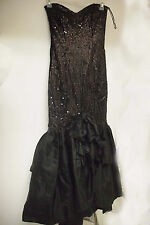 Nadine Black Hi Lo Tiered Sequined Mermaid Formal (Prom)  Long Dress, Size S