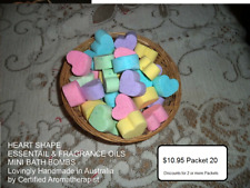 HEART SHAPE MINI ESSENTIAL & FRAGRANCE OIL BATH BOMBS Variety Pkt 20