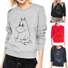 Women Round Neck Long Sleeve Hoodie Pullover Jumper Loose Sweater Coat Tops