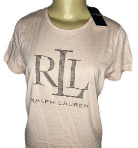 Lauren Ralph Lauren T-Shirt RLL Studded Short Sleeve Light Pink Women S NWT
