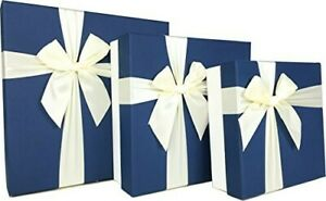 Cypress Lane Square Gift Boxes with Ribbon, 11 inches, a Nested Set of 3 (Blue)