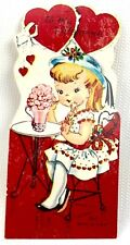Vtg 40s 50s Valentines Card Soda Fountain Ice Cream Shop Girl Ephemera Greeting