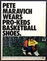 1972 Basketball Legend Pete Maravich photo Pro-Keds Shoes vintage print ad