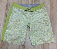 Women's Patagonia Water Girl Board Shorts Green Floral Beach Swim Surf Sz 14