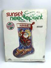Sunset Needlepoint Vtg Dash Away All Xmas Stocking Kit Charlene Gerrish 1979