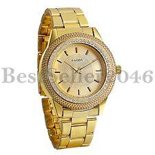 Men's Luxury Rhinestone Dial Gold Stainless Steel Band Quartz Analog Wrist Watch