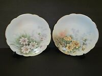 B&C France Limoges Decorative Plates Roses Flowers Pink Yellow Gold--Lot of 2!!