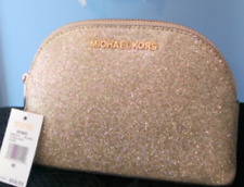 Michael Kors Gold Glitter Travel Pouch/Make Up Case -  Retired !!