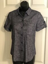 NWT $245- Theory- Short Sleeved Buttoned Down Denim Wash Blouse Top- Size S