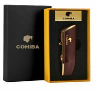 COHIBA 3 Torch Jet Flame Refillable Cigar Lighter ,With Punch Smoking Tools Gift