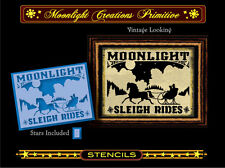 Primitive Stencil-MOONLIGHT SLEIGH RIDES~Vintage Style~Winter horse drawn sled
