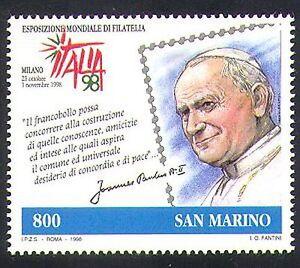 San Marino 1998 Pope John Paul II/Religion/People/Popes/StampEx 1v (n37008)