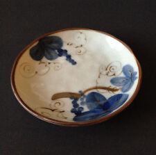 "2 Pcs. Japanese 5.5""D Crackle Blue Grapes Dessert Coaster Plates, Made in Japan"