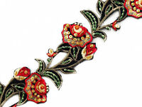 Red & Yellow Flower Sewing Trim Hand-Beaded Embroidered Iron-On Trim. 2 Yards
