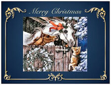 20 CHRISTMAS HORSES DOG Wreath Stable Greeting Flat CARDS Envelopes Seals