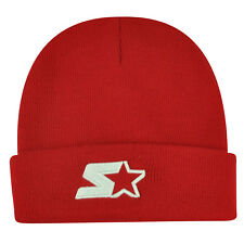 Starter Blank Red Knit Beanie Cuffed Toque Winter Hat Skully Plain Solid Thick