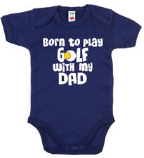 "Baby Golf Bodysuit ""Born to Play Golf with my Dad"" Baby grow Vest Gift Clothes"