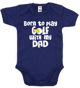 """Baby Golf Bodysuit """"Born to Play Golf with my Dad"""" Baby grow Vest Gift Clothes"""
