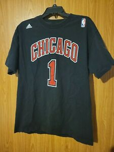 Adidas Go To Tee Chicago Bulls Derrick Rose #1 Stitched On Graphics Large Tshirt