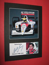 AYRTON Senna McLaren Formula 1 Mount firmato Ristampa Autografo Nigel Mansell F1