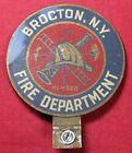 Brocton, NY Fire Department License Plate Topper w/ Helmet Ladder Etc - Vintage