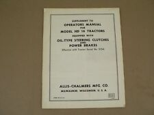 Allis Chalmers Supplement to Owners Manual for Model HD 16 Tractors 1961