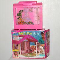 Barbie Fold 'N Fun Home Case Pink Doll Play House Mattel 1992 w/ Box Vintage